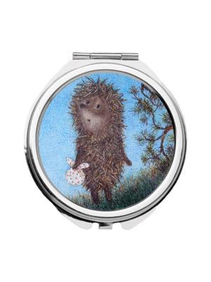 Зеркальце карманное Ежик в сумерках Chocopony. Цвет: серый, голубой