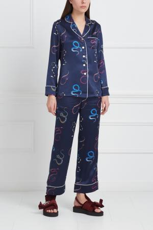 Шелковая пижама Lila Olivia von Halle. Цвет: темно-синий, разноцветный
