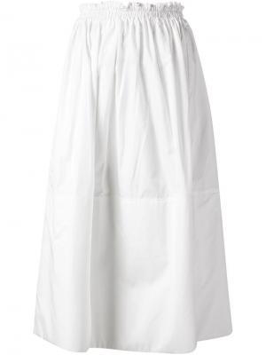 Расклешенная юбка с эластичным поясом Liwan. Цвет: белый