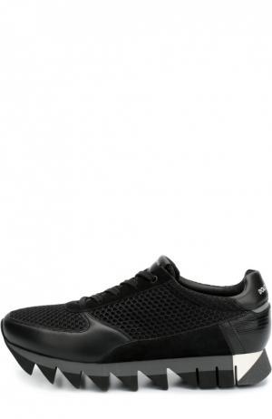 Комбинированные кроссовки Capri на толстой подошве Dolce & Gabbana. Цвет: черный