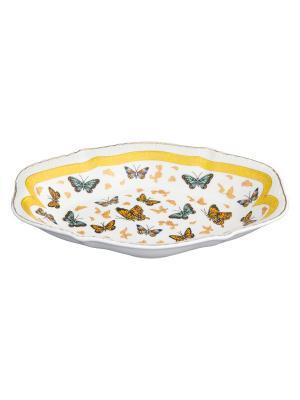 Блюдо универсальное Бабочки Elan Gallery. Цвет: белый, золотистый, оранжевый