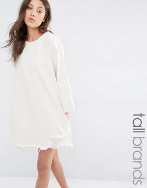 Waven Tall Джинсовое платье с рукавами 3/4 и рваной кромкой. Цвет: бежевый