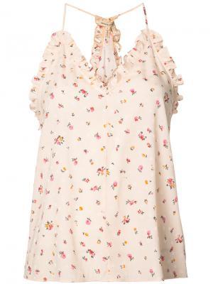 Floral ruffle trim camisole Rebecca Taylor. Цвет: розовый и фиолетовый