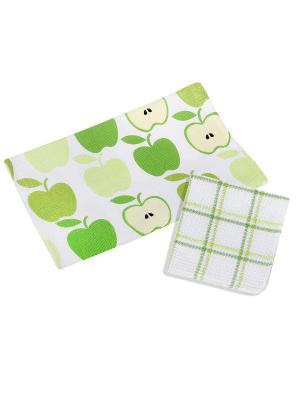 Набор для кухни: полотенце,салфетка Dream time. Цвет: белый, зеленый