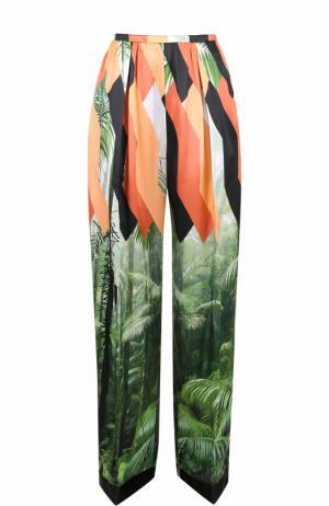 Широкие брюки с защипами и принтом Dries Van Noten. Цвет: разноцветный