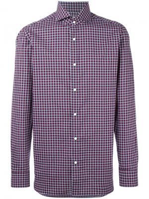 Рубашка в клетку со стоячим воротником Borrelli. Цвет: красный