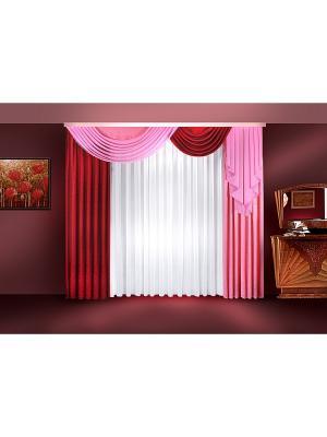 Комплект штор ZLATA KORUNKA. Цвет: бордовый, розовый