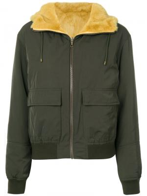 Двухсторонняя куртка с мехом Army Yves Salomon. Цвет: зелёный