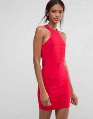 Club L Бандажное платье. Цвет: красный