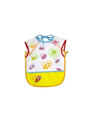 Слюнявчик клеенчатый на завязках и с карманом ПОМА. Цвет: оранжевый