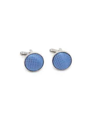 Запонки классические голубая ткань Churchill accessories. Цвет: серебристый