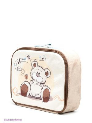 Чемоданчик Медвежонок кремовый NICI. Цвет: бежевый, кремовый