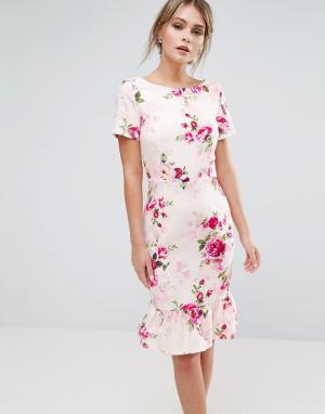 Paper Dolls Платье миди с цветочным принтом. Цвет: мульти