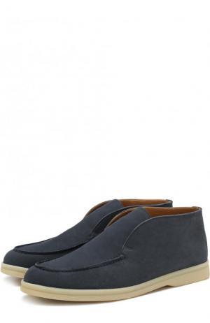 Замшевые ботинки на контрастной подошве Loro Piana. Цвет: голубой