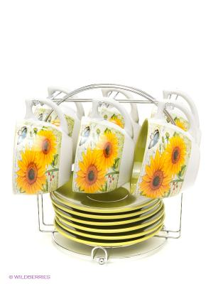Чайный набор, 13 предметов Bekker. Цвет: желтый, белый, салатовый
