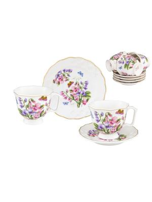 Кофейный набор Душистый цветок Elan Gallery. Цвет: белый,фиолетовый,розовый