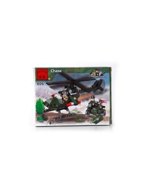 Конструктор пластиковый Военный вертолет с фигурками ENLIGHTEN. Цвет: зеленый