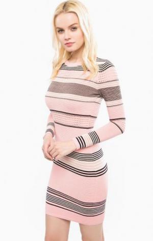 Короткое платье из хлопка в полоску Juicy Couture. Цвет: розовый