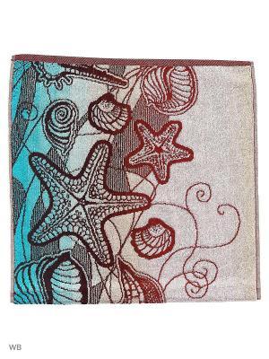 Полотенце махровое пестротканое жаккардовое Морское вдохновение-2 Авангард. Цвет: темно-коричневый, голубой