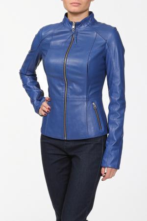 Куртка кожаная SUSSEX. Цвет: синий