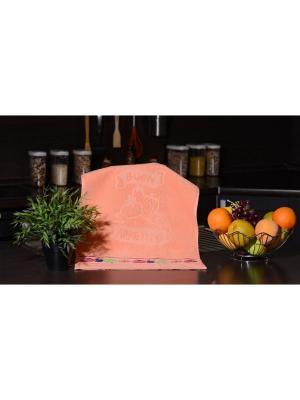 Набор махровых полотенец Овощи 40х60 3шт. персиковый TOALLA. Цвет: персиковый