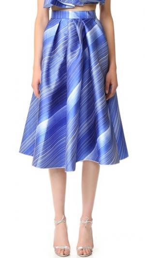 Плиссированная юбка-колокол Vika Gazinskaya. Цвет: синий/белый
