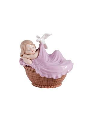 Статуэтка Малыш в колыбели Русские подарки. Цвет: бежевый, розовый, коричневый