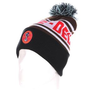 Шапка с помпоном  Cobra Pom Beanie Brown/White/Black TrueSpin. Цвет: черный,коричневый,белый,красный