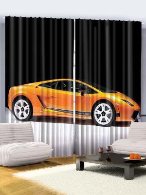 Комплект фотоштор из полиэстера высокой плотности Оранжевый автомобиль, 290*265 см Magic Lady. Цвет: оранжевый, светло-серый