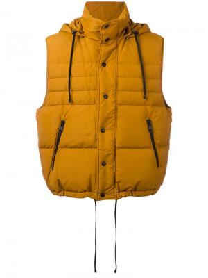 Дутый жилет Ami Alexandre Mattiussi. Цвет: жёлтый и оранжевый