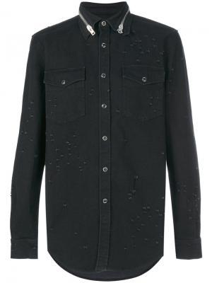 Джинсовая рубашка с потертой отделкой Givenchy. Цвет: чёрный