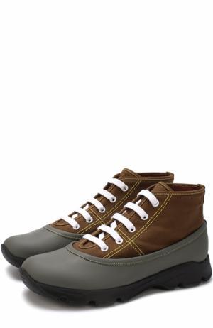 Текстильные ботинки с отделкой из резины Marni. Цвет: коричневый