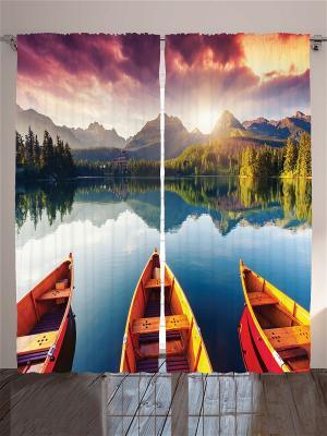 Комплект фотоштор Рай для рыбалки, 290*265 см Magic Lady. Цвет: белый, черный, зеленый, коричневый, красный, оранжевый, кремовый, желтый