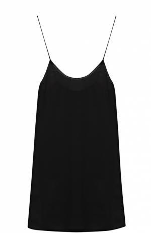 Мини-платье прямого кроя на тонких бретельках Poustovit. Цвет: черный