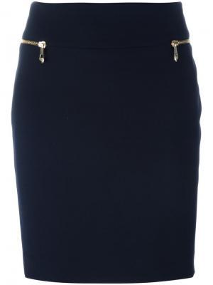 Юбка-карандаш с карманами на молнии Versace Collection. Цвет: синий