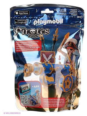 Пираты: Синяя интерактивная пушка с офицером пиратов Playmobil. Цвет: синий