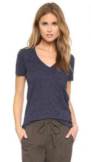 Хлопковая футболка Whisper с V-образным вырезом и карманом Madewell. Цвет: индиго меланж