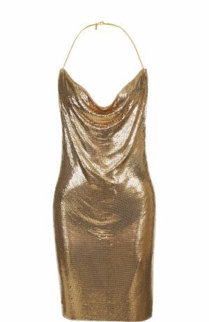 Платье с открытой спиной и металлизированной отделкой Balmain. Цвет: золотой