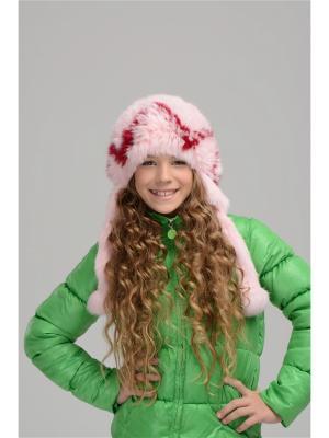 Шапка Морозко Вязаный мех. Цвет: бордовый, розовый