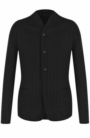 Однобортный пиджак из смеси шерсти и льна с хлопком Masnada. Цвет: черный
