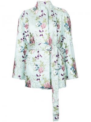 Жакет-кимоно с вышитым цветочным узором N Duo. Цвет: зелёный