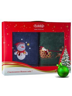 Махровое полотенце в коробке 50х90*2 Новый год, V14 HOBBY HOME COLLECTION. Цвет: синий, зеленый