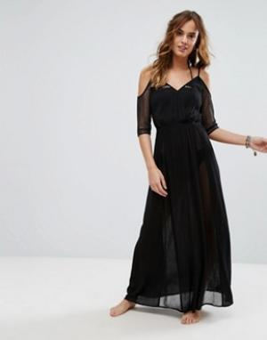 Matthew Williamson Черное сетчатое пляжное платье макси Butterfly By. Цвет: черный