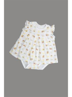 Платье-боди ORANGE BABY. Цвет: белый, желтый