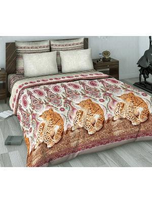 Комплект постельного белья из сатина 1,5 спальный Василиса. Цвет: бежевый