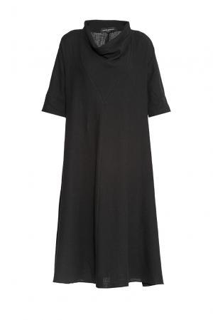 Платье изо льна и хлопка 173137 Cyrille Gassiline. Цвет: черный