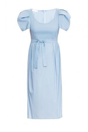Платье из хлопка с поясом 131619 Villa Turgenev. Цвет: синий