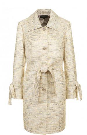 Буклированное пальто с поясом и отложным воротником St. John K62PW02