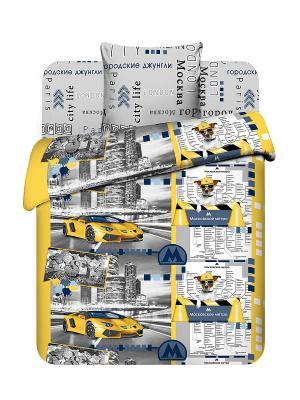 Комплект постельного белья для подростков Василиса. Цвет: серый, желтый