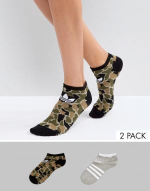 Adidas Originals Набор из 2 пар носков (камуфляжный/серый). Цвет: зеленый